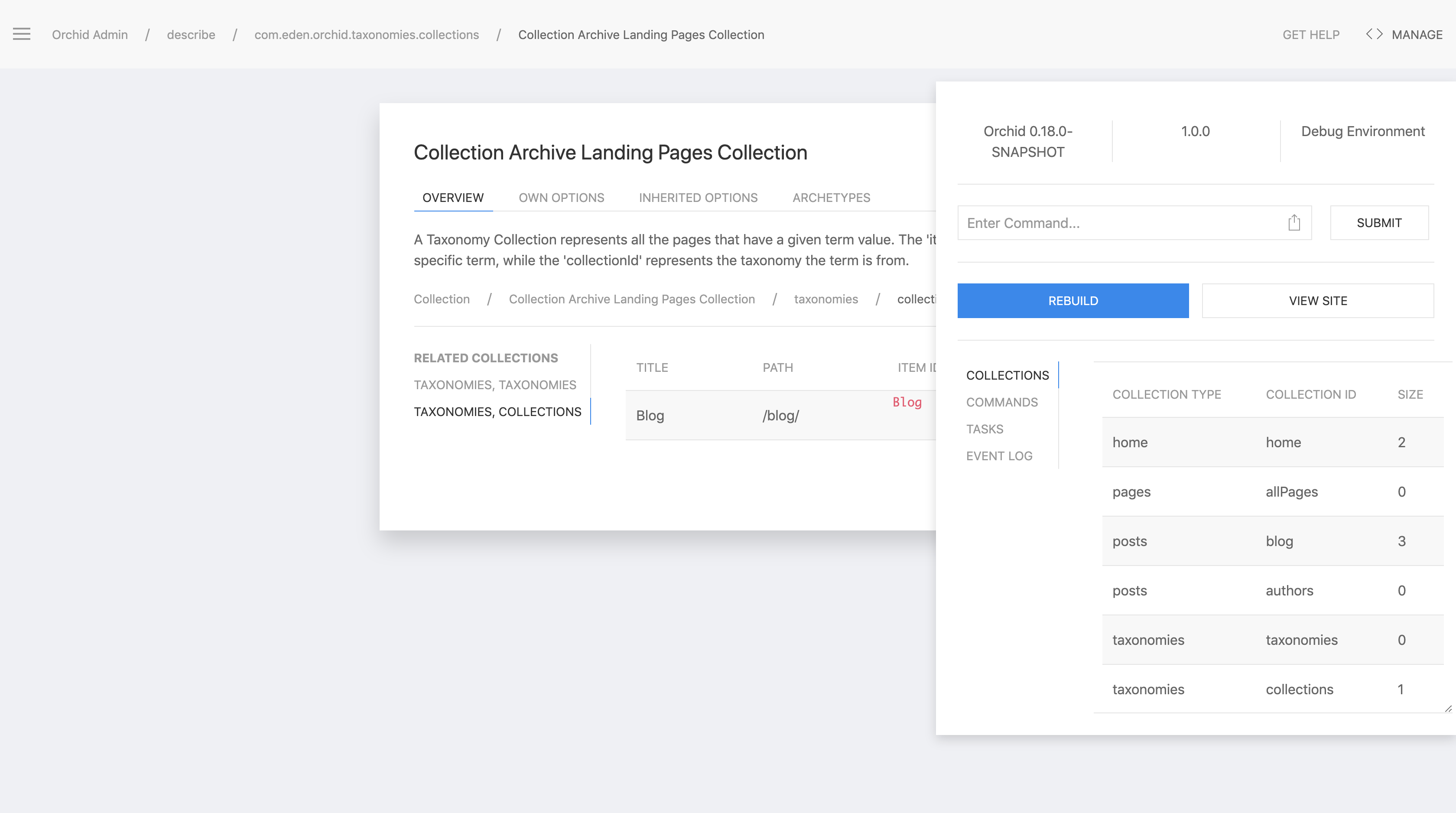Orchid Admin Panel Collections